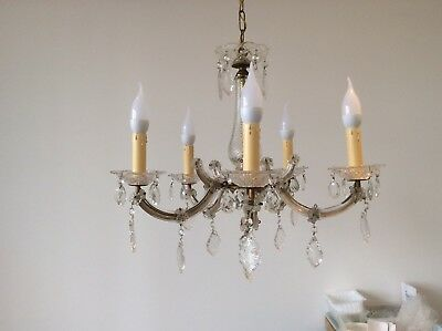 Fabulous Vintage French Marie Therese Crystal 5-arm Chandelier, c1940s.