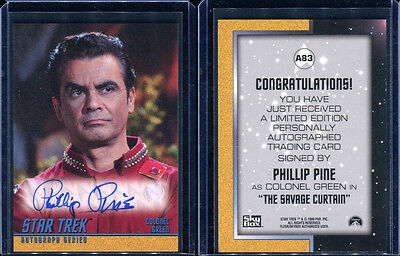 1999 Skybox Star Trek Original TOS Season 3 A83 Phillip Pine Autograph Card