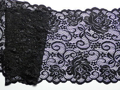 "5 METRES Premium Black Dainty Floral Rose Flat Lace Trim 6""/15cm TOP SELLER"