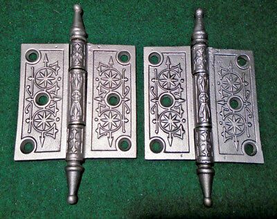 "Pair Vintage Eastlake Hinges  3 1/2""  X 3 1/2""  Steeple Tip - Beautiful! (11223)"