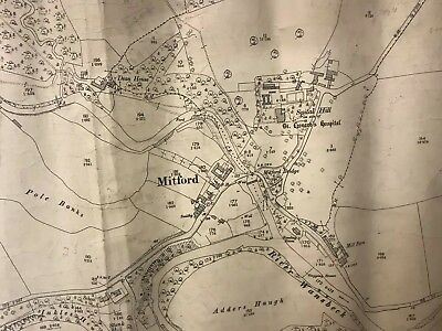 1897 Map Of Mitford, Morpeth Northumberland