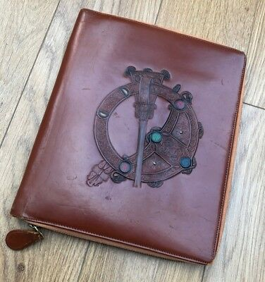 True vintage brown leather hide travelling stationary writing case celtic design