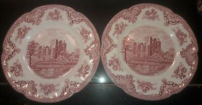 "Johnson Bros - Lot Of 2 ""Old Britain Castles/Blarney"" Red Dinner Plates Set Pink"