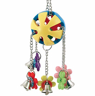 Charming Jingle Ball Parrot Toy - Colourful Large Toy That Rattles And Chimes