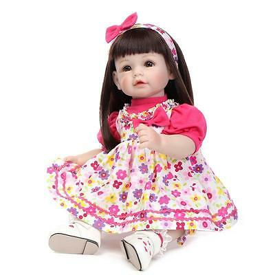22''Handmade Lifelike Baby Silicone Vinyl Reborn Newborn Girl Doll+Clothes+Shoes