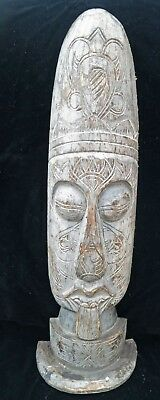 ***RARE Vintage EASTER Island Native Tribal Pacific Wood Carving SIGNED Treen