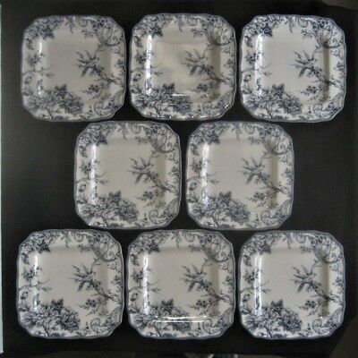 """222 FIFTH China ADELAIDE BLUE & WHITE 8- SQUARE DINNER PLATES 11"""" Birds, Florals"""