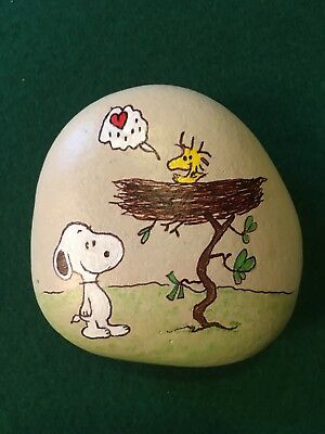 Hand Painted Rock Snoopy Visiting Woodstock