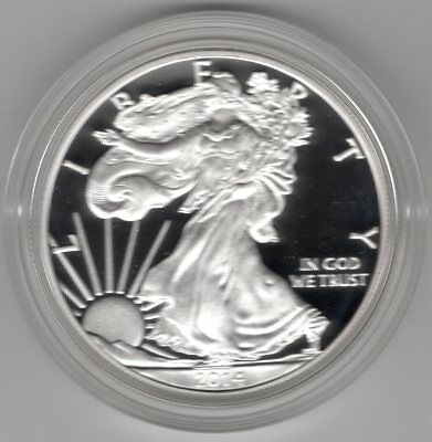 2014 W American Eagle One Ounce Silver Proof Coin w/ COA and Box - US Mint