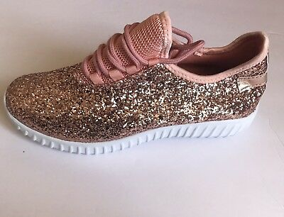 New Women S Rose Gold Glitter Bomb Sneakers Lace Up Tennis