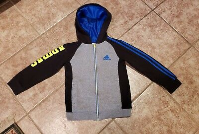 ADIDAS Boys SIZE 7 Hooded Track Jacket Zip Front Black/Gray/Blue/Yell Pre-Owned