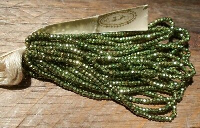 Sale Antique French Steel Cut Bead Hank Tiny Micro Metal Green Faceted Seed Rare