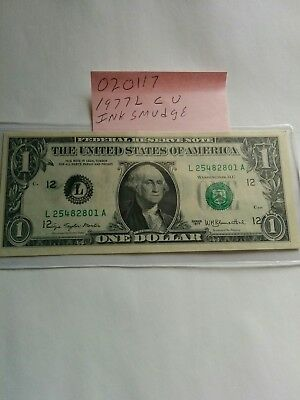 1977A$1.00 Federal Reserve note CU  020117 ERROR INK SMUDGE ON FRONT