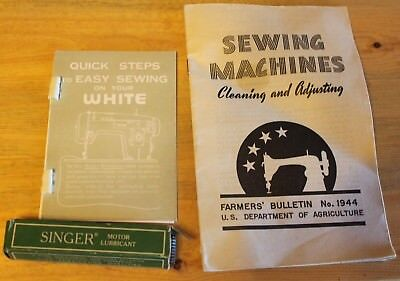 Vintage ~Singer Sewing machine Lubricant, Quick steps White, Sewing Machine Book