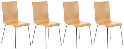 Set 4 chairs visitor PEPPER, sitting wooden, frame metal chrome, chair in
