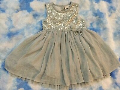 Next Girls Beautiful Grey with Sequins Party Dress age 18 months-2years