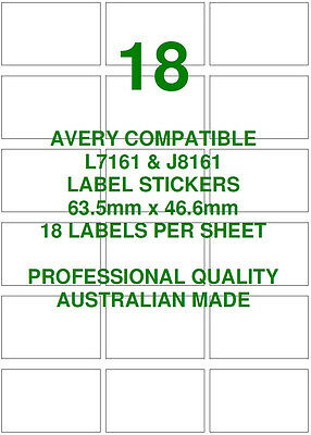 Avery L7161 & J8161 Compatible Address Shipping Labels Stickers 18 X 10 Sheets