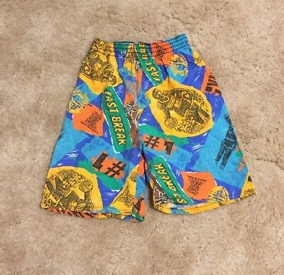 Vintage 90s Boys Multi Colored Loco Lobo Basketball Print Graphic Shorts