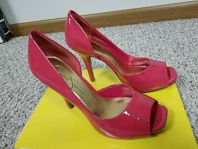 d6b77afcd8c7 Jessica Simpson Pink Heels Size 7.5B Patent Leather Shoes Peep Toe no box