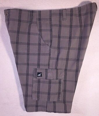 d588eacd902e6 Men s 34 Plaid Shorts Cargo Golf Board Skater Bike Molokai Vintage Brown  Black