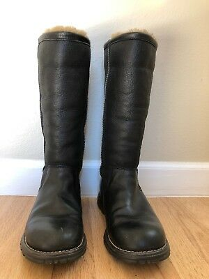 c1945ab93e6 UGG AUSTRALIA 5490 BROOKS Tall Black LEATHER BOOTS Size 7
