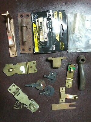Vintage Solid Brass Lever-Handle Cabinet Door Latch Antique Hardware Lot
