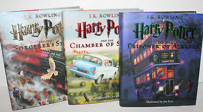 Harry Potter SET 1-3 Illustrated By Jim Kay1st Edition1st Printing HC Complete