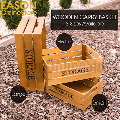 Vintage Wooden Storage Carry Box Crate Retro Style Decorative Timber Case Drawer