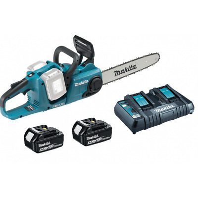 Makita DUC353PT Twin 18v 36v Cordless Chainsaw 2 x 5.0ah Batteries + Charger Kit