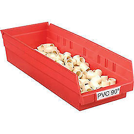 "Akro-Mils Plastic Shelf Bin, 6-5/8""W x 17-7/8""D x 4""H Red, Lot of 12"