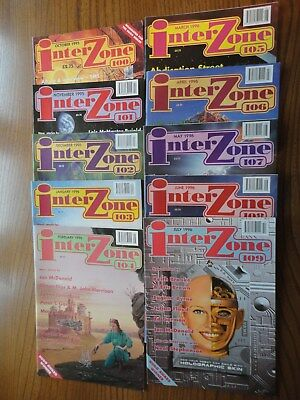 10 issues x INTERZONE #100,101,102,103,104,105,106,107,108,109 - 1995/96  F& SF