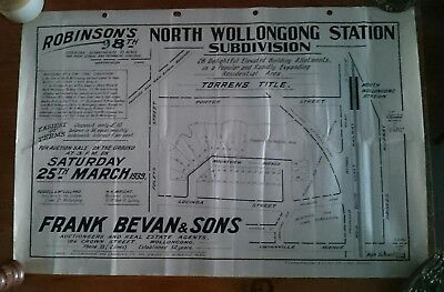 Wollongong 1939 Subdivision Map. North Wollongong Station Area, Bevan & Sons
