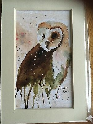 ORIGINAL WATERCOLOUR. Painting gift. Mounted WATERCOLOUR card.Owl