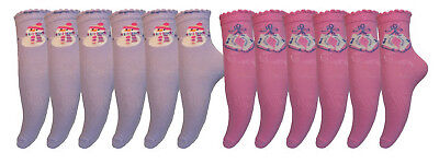 Baby/Girls 12 pairs Snowman & Skater Socks Bargain Sock Packs