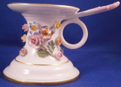 Antique 19thC Meissen Porcelain Applied 3D Flowers Chamberstick Porzellan German