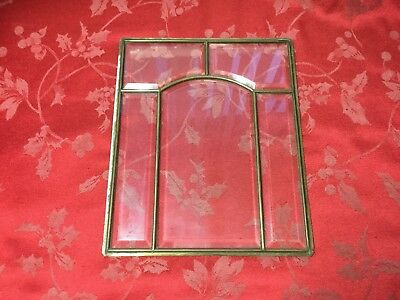 Leaded Glass Panel Brass Framed  From A Gustav Becker Edwardian Wall Clock