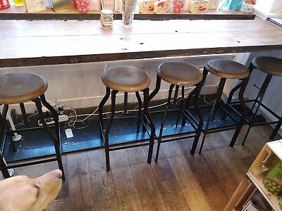 5 Vintage bar stool oak top