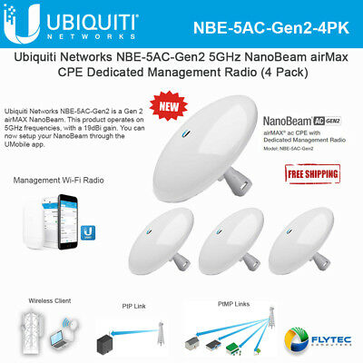 UBIQUITI NANOBEAM AC Gen2 NBE-5AC-GEN2 US 450 Mbit/s Wireless Bridge  (4-Pack)