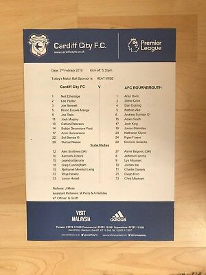 Cardiff City v Bournemouth- Official Teamsheet-February 2nd 2019-Mint