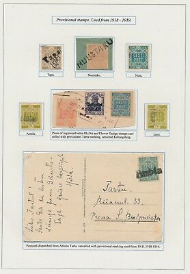 Estonia. 1918-19. Collection of intersting cancels. From EXHIBITION COLLECTION