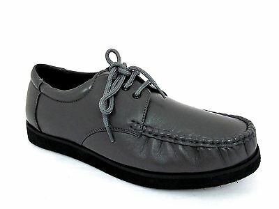 Easylife Mens Grey Soft Leather Loafers Casual Flat Lace-Up Shoes Uk 9 - Eur 43
