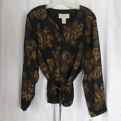 NEW Women's 18 NORTON MCNAUGHTON Brown & Black Blouse, Belt, Floral, Long Sleeve