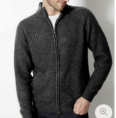 Mens Ex M&S Textured Zip Through Funnel neck Long sleeve Cardigan