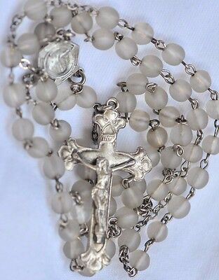 "Vintage/ Antique 19""  Rosary Frosted Clear Beads, Sterling Silver Crucifix-Charm"