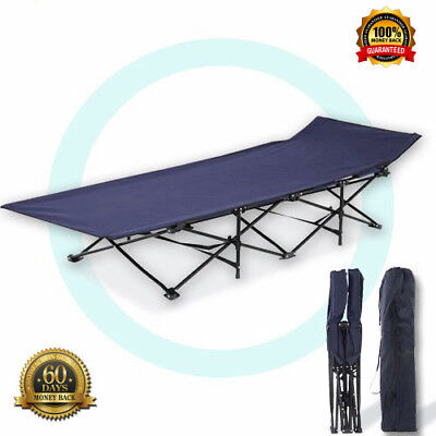 Camping Fold Out Bed With Carry Bag Light Weight Easy Folding Camp Stretcher Mat