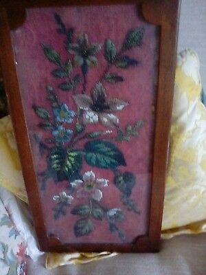 Victorian Floral Beaded Embroidered  Panel under Glass
