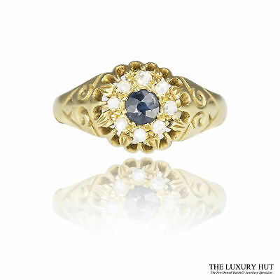 £1,700.00  Antique Chester 1912 18Ct Gold 0.29Ct Sapphire & Diamond Cluster Ring