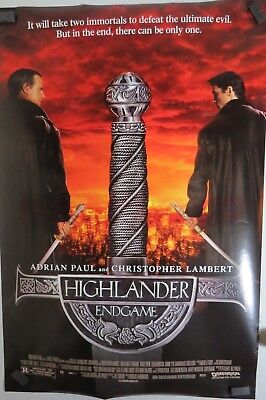 "Highlander Endgame - 27""x40"" 2 Sided ORIGINAL Movie Poster - Adrian Paul"