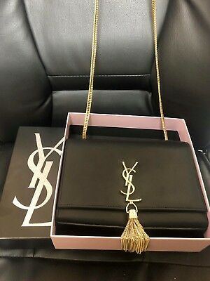 Authentic YSL Yves Saint Laurent Medium Classic Kate Gold Tassel Black Purse 81f990d35fe4b