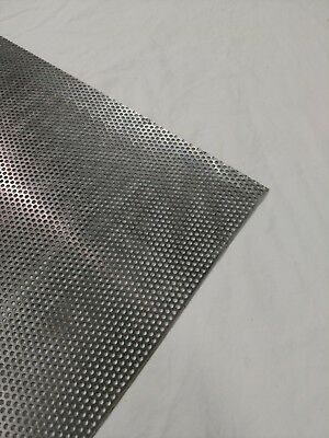 "Perforated Metal Aluminum Sheet 1/16"" Thickness 12"" x36"" 1/8"" hole 3/16"" stagger"